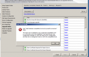 Sql 2008 to 2012 upgrade error
