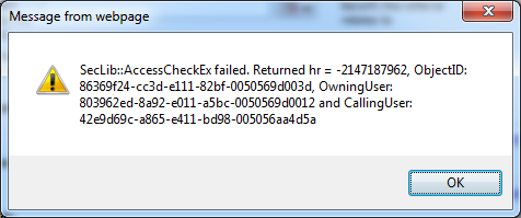 CRM Javascript load SecLib::AccessCheckEx failed  Returned hr – Rokhri
